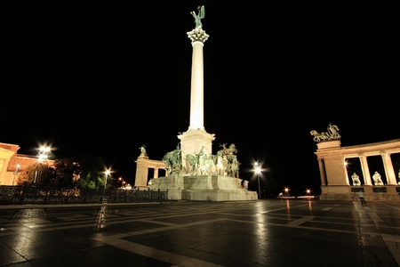 Heroes square by night in Budapest, Hungary