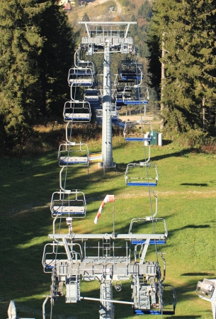 Summer ski lifts at the top photo