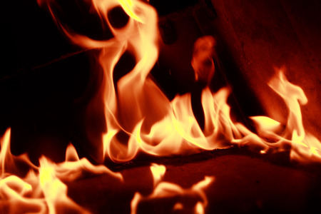 Fire flames with reflection on dark background Stock Photo - 22208966