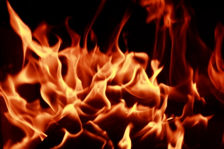 Fire flames with reflection on dark background Stock Photo - 22208968