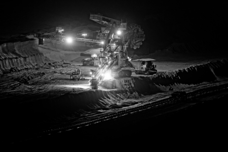 open pit: Coal mining in an open pit - evening photo