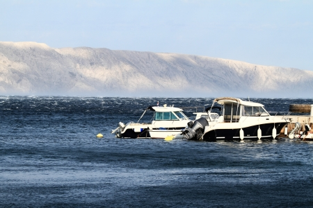 motorboats: Small motorboats on the blue sea Stock Photo