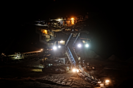 chiming: Coal mining in an open pit - evening photo