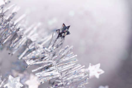 Silver tinsel Christmas decoration - close-up photo photo