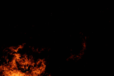 wood fire: Fire flames with reflection on black background
