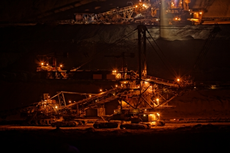 tailings: Coal mining in an open pit - evening photo