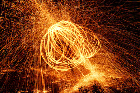 Showers of hot glowing sparks from spinning steel wool. Stock Photo - 24381889