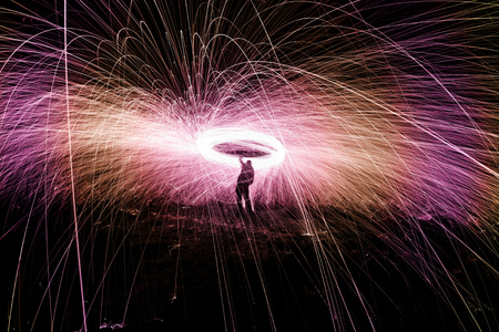 Showers of hot glowing sparks from spinning steel wool. Stock Photo - 24488620