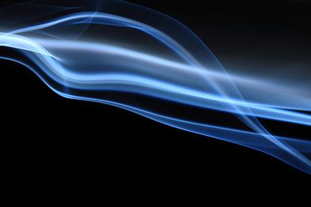 dynamic heat black: Blue abstract smoke on black background - macro photo