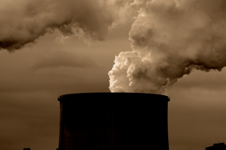 catalytic: Coal power plant with chimney and cooling towers