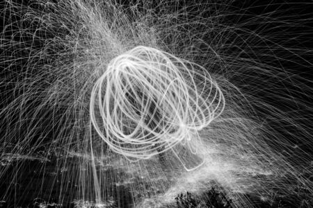 steel wool: Showers of hot glowing sparks from spinning steel wool.