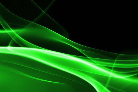 dynamic heat black: Green abstract smoke on black background - macro photo