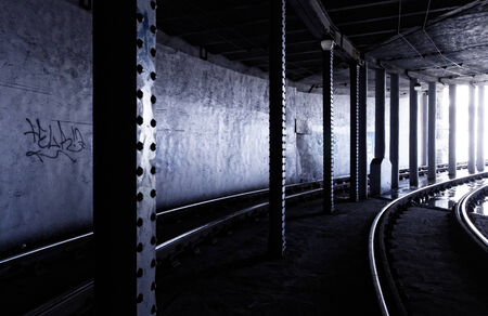Photo of a dark tram tunnel in Hungary photo
