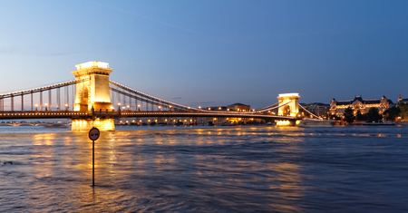 Photo of the Suspension Bridge at night in Budapest photo