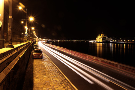 Beautifull landscape of Budapest at night photo