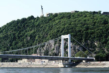 sidewards: Sidewards landscape of Erzsebet-bridge in Budapest