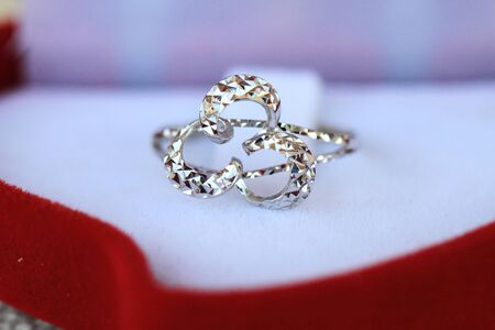 CLose up photo of a beautiful silver ring photo