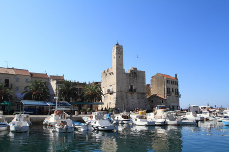 Beautiful landscape in the port in Komiza, Croatia photo