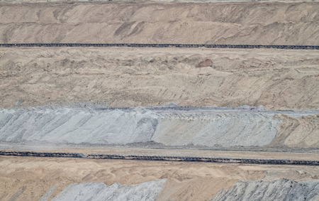 tailings: Coal mining in an open pit Stock Photo