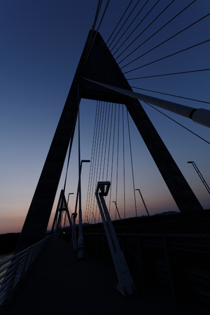 The bridge called Megyeri over the river Danube in Hungary photo