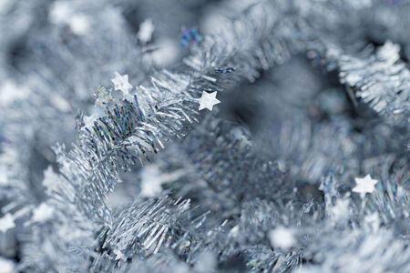 Blue tinsel Christmas decoration - close-up photo photo