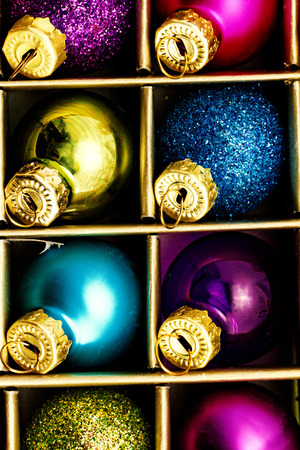 Close up photo of christmas tree ornaments photo