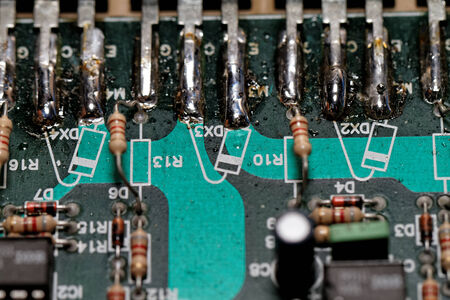 electronic components: Close up photo of various electronic components Stock Photo