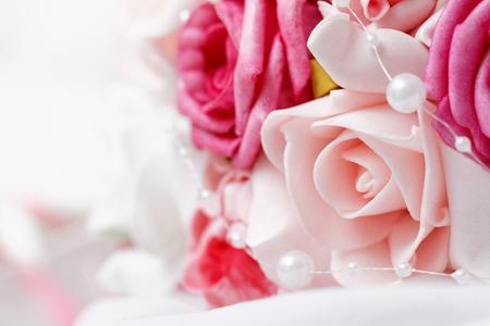 Wedding bouquet of pink roses - closeup photo photo