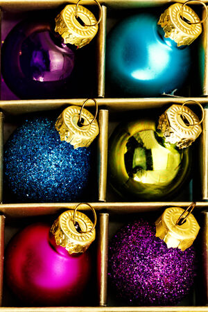Close up photo of christmas tree ornaments photo