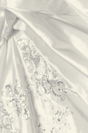 Detail of wedding dress - close-up photo