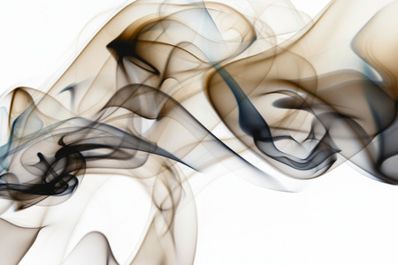 Beautiful smoke on the white background - macro photo Banque d'images