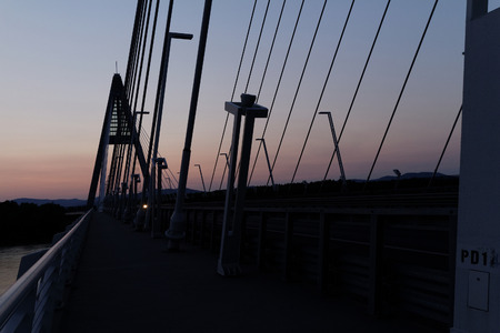 The bridge called Megyeri over the river Danube in Hungary photo