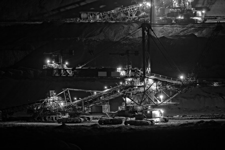 Coal mining in an open pit - evening photo