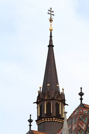 steeple: Photo of a high steeple in the city center