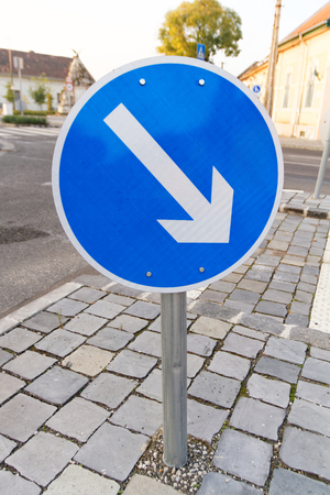 avoidance: Photo of a road sign avoidance right direction Stock Photo
