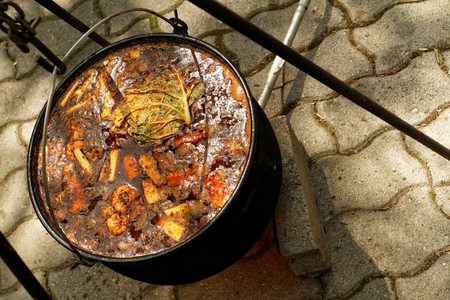 mouthwatering: Photo of the mouth-watering goulash in cauldron
