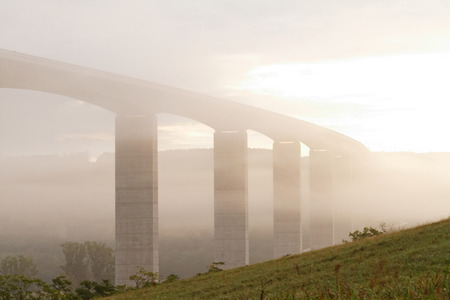 viaduct: Large highway viaduct with foggy sunrise on autumn