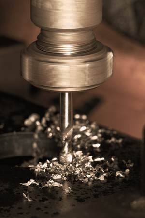 ncc: Close up photo of a CNC drilling Stock Photo