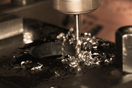 Close up photo of a CNC drilling Stock Photo