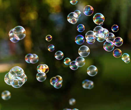 The rainbow bubbles from the bubble blower