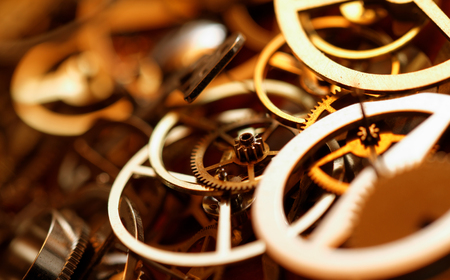 hands  hour: Detail of clock parts for restoration - close up photo Stock Photo