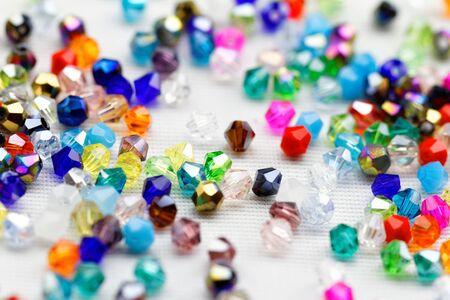 Beautiful glass beads closeup on white background Stock Photo