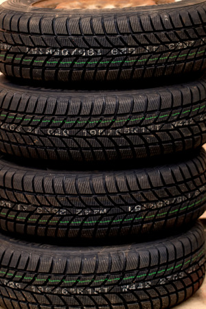 new car lots: Photo lots of new black car tire