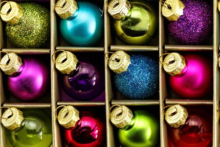 Close up photo of christmas tree ornaments