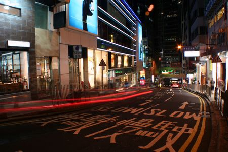 busy street in Hong Kong photo