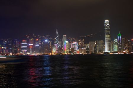 nightview of Hong Kong island Stock Photo