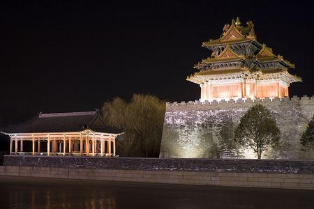 Nightview of the Forbidden City in Beijing photo