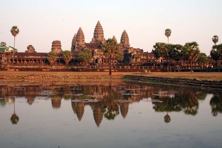 Angkor Wat at sunset from the pool Stock Photo
