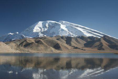 reflection of mountains on Karakul lake