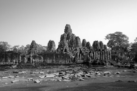 the Bayon temple in b&w photo